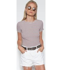nicolas fitted tee - m red navy stripe