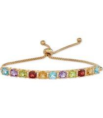 multi-gemstone (1-1/3 ct. t.w.) & diamond (1/10 ct. t.w.) bolo bracelet in 14k gold