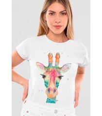 camiseta basica mirat girafa branca