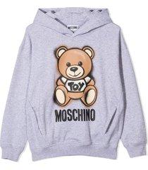 moschino grey stretch cotton hoodie