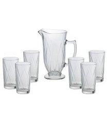 conjunto bon gourmet com 6 copos e 1 jarra vidro triangle incolor