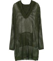 track & field hooded knit dress - green