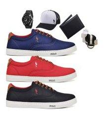 kit 3 pares sapatênis polo blu casual azul/vermelho/preto acompanha boné + cinto + meia + carteira + relógio