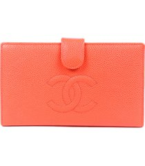 chanel timeless orange cc caviar leather wallet orange/logo sz: