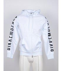 bikkembergs designer sweatshirts, white cotton signature men's hoodie