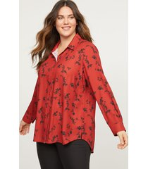 lane bryant women's button-front high-low tunic 14/16 rust and black floral