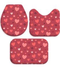 kit 3 tapetes decorativos para banheiro wevans coração vermelho