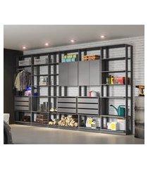 módulo closet be mobiliário clothes 4 portas 9 gavetas 1 cabideiro