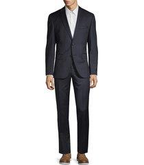 boss hugo boss men's regular fit johnstons lenon virgin wool suit - dark blue - size 40 l