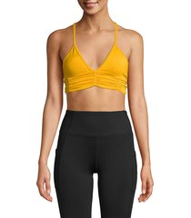 body language women's floral printed ruched sports bra - gold - size l