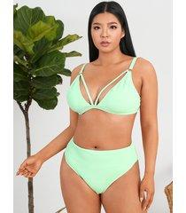 bikini sin mangas con cuello en v y espalda descubierta de talla grande diseño trajes de baño