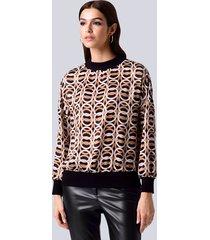 blouse alba moda zwart::steen