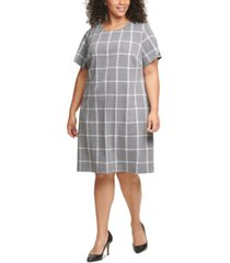 tommy hilfiger plus size plaid shift dress