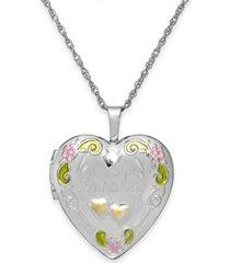 grandma painted heart locket in sterling silver