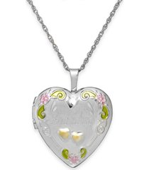 grandma painted heart locket in sterling silver