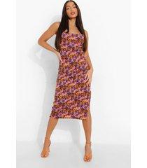 tall gekleurde bloemen midi jurk met col, purple