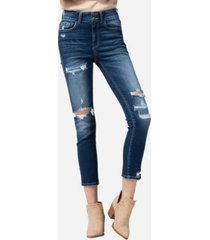 vervet high rise wide waistband patch stitch skinny crop jeans