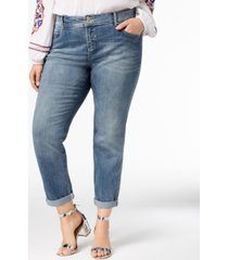 i.n.c. plus size and petite plus tummy control zenith boyfriend jeans, created for macy's