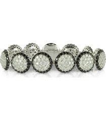 azhar designer bracelets, two tone cubic zirconia & sterling silver bracelet