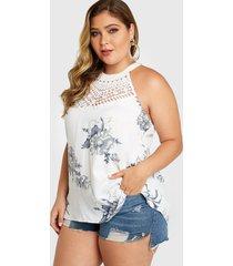 blusa sin mangas con cuello redondo floral al azar sin espalda blanca de talla grande