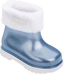 botas melissa blanco azul glitter plata mini rain boot ii