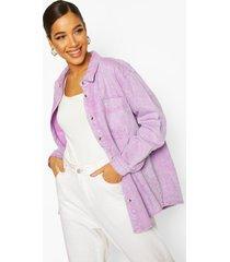 oversized acid wash rigid denim shirt, lilac