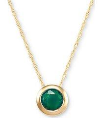 "birthstone 18"" bezel pendant necklace in 14k gold"
