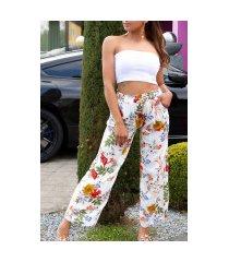 trendy casual zomer broek met bloemen-print wit