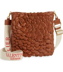 valentino garavani atelier rose shoulder bag - brown