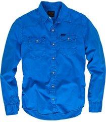 pme legend blauw twill denim overhemd lange mouwen