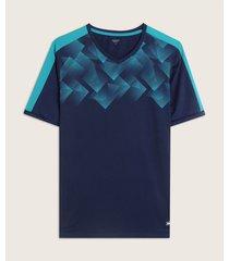 camiseta manga corta cuello v con sublimación en frente y corte en contraste