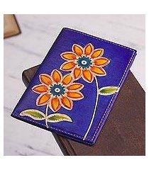 leather passport wallet, 'lovely traveler in blue' (peru)