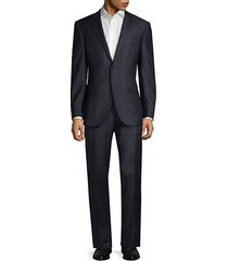 regular-fit checked wool blend suit