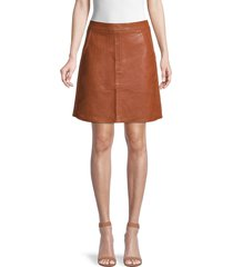 lea & viola women's faux leather mini skirt - cognac - size l