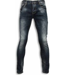 skinny jeans true rise basic jeans - blue stone washed regular fit -