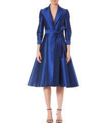 women's carolina herrera fit & flare midi dress, size 14 - blue/green