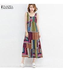 zanzea moda una línea de vestidos del tanque de playa del verano del partido de midi-becerro camisa de vestir de algodón de las mujeres de lino floral retro imprimir vestido de tirantes verde -verde