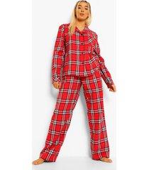 flanelen woman pyjama broek set met taille band met tekst, red