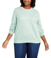 alfred dunner plus size lake geneva floral embroidered top
