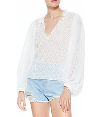 alice + olivia women's julius blouson-sleeve top - off white - size l