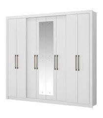 roupeiro héster 8 portas branco c/ espelho móveis carraro