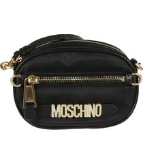 moschino top zipped logo plaque pouch