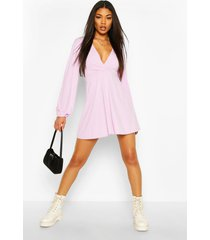 jumbo rib plunge balloon sleeve skater dress, lilac