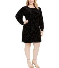 calvin klein plus size puff-sleeve burnout-print dress