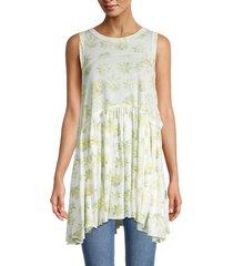 free people women's madison floral-print longline tank top - light combo - size m