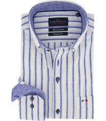 overhemd portofino katoen linnen mix blauw wit