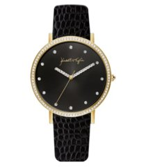 women's kendall + kylie textured black patent leather stainless steel strap analog watch 40mm