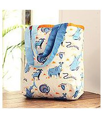 cotton canvas tote bag, 'blue wilderness' (india)