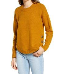 women's madewell demi side button sweater, size x-small - orange