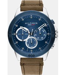 tommy hilfiger men's explorer stainless steel sub-dials watch with brown leather strap brown/blue -